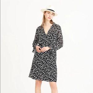 J Crew Mercantile Black White Floral Dress Sz XS